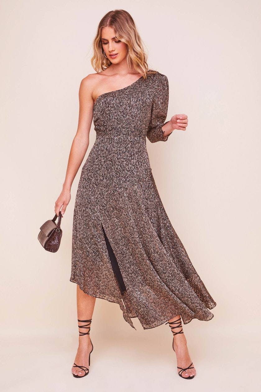 Sable One Shoulder Animal Print Dress
