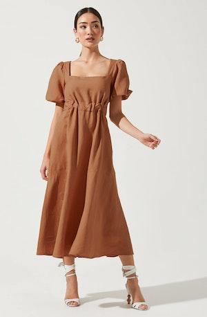 Angeles Puff Sleeve Cutout Dress