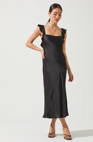 Black Square Neck Column Dress - This one has a classic style to it that's great for special occasions and events. It has an elegant square neck. Team it up with accessories to match.