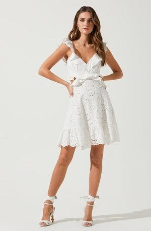 Elora Eyelet Ruffle Mini Dress