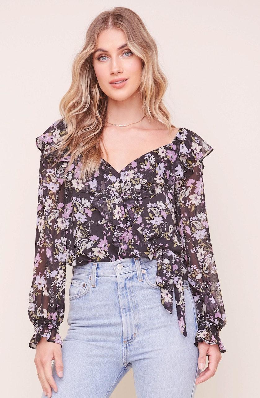 Persephone Floral Wrap Bodysuit