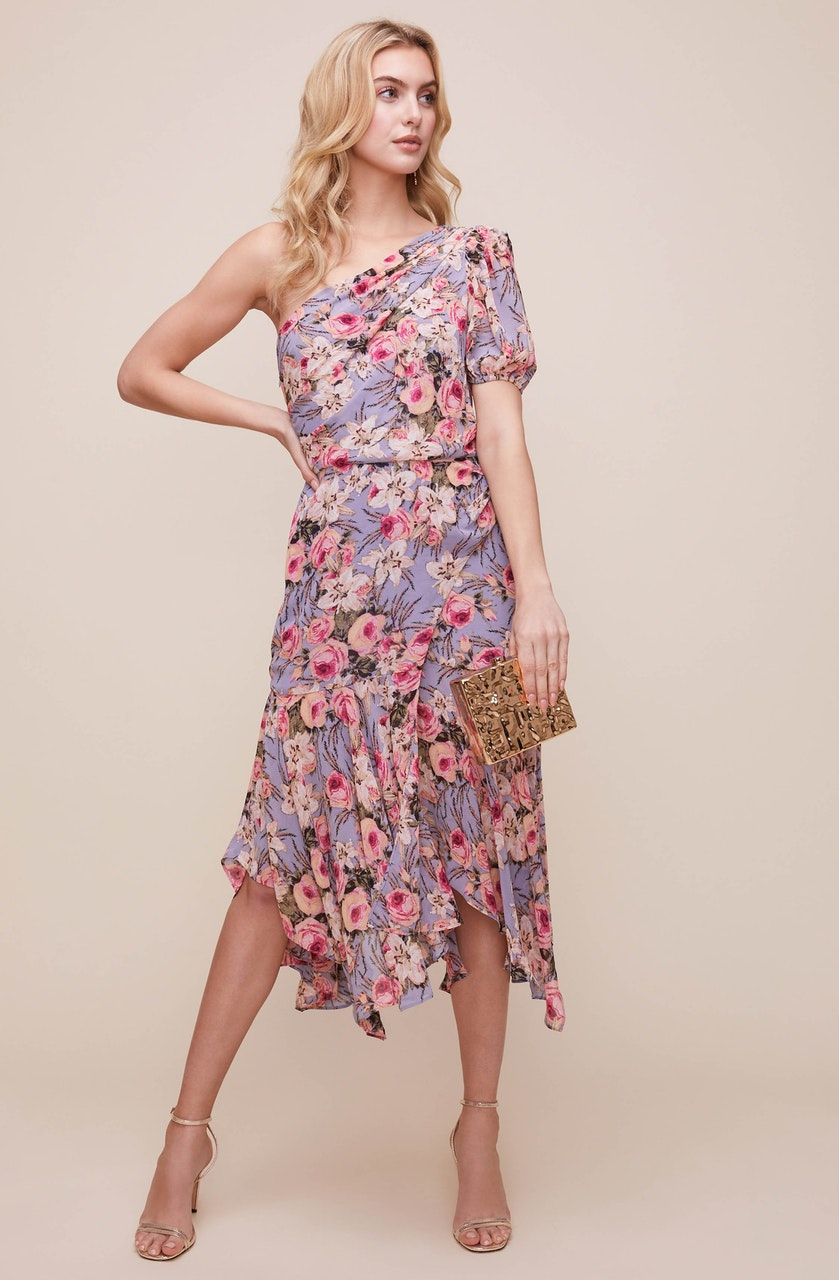 Adriana One Sleeve Floral Dress