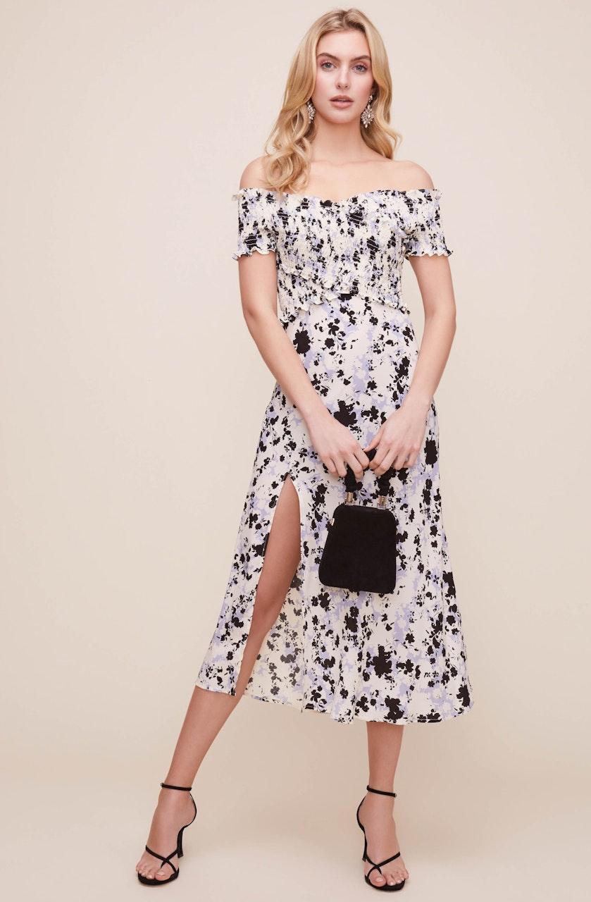 Criss Cross Smock Floral Midi Dress