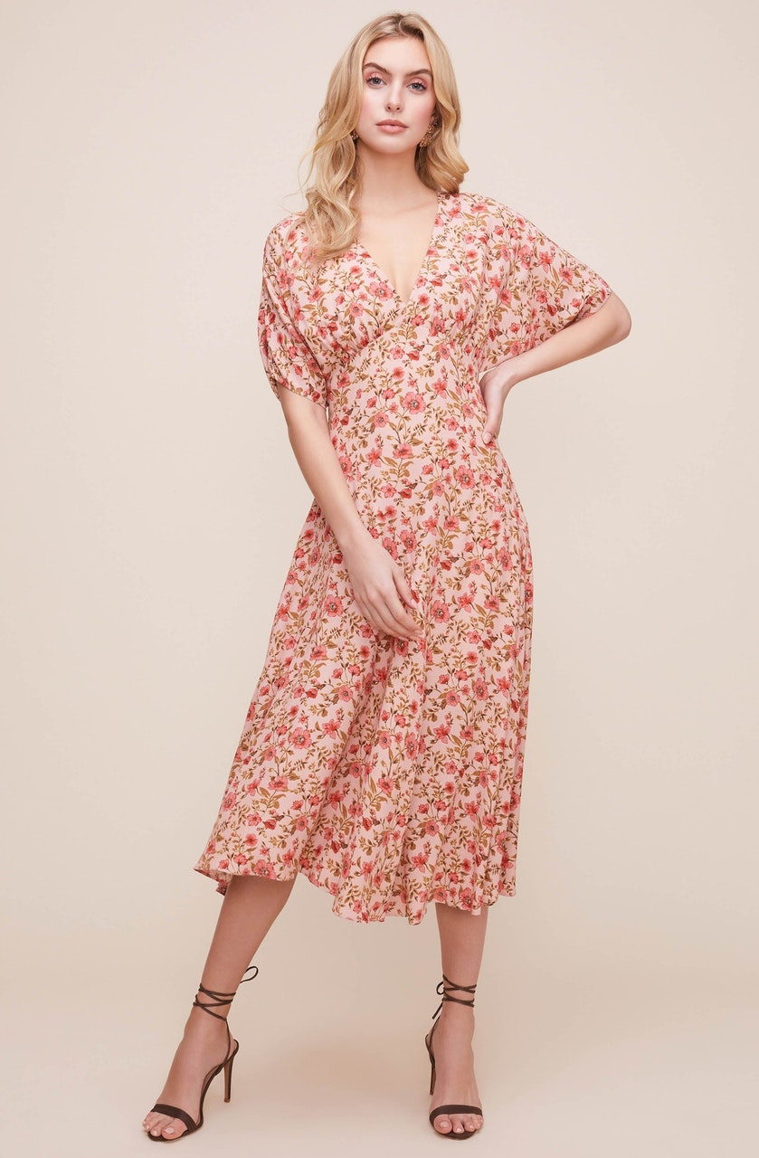 Dolman V Neck Floral Midi Dress