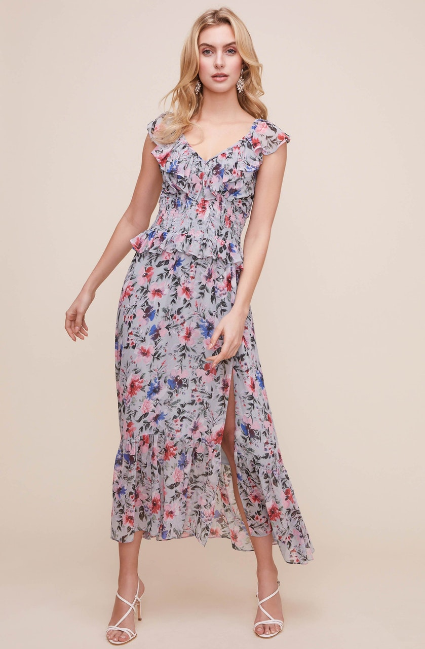 Double V Flutter Floral Midi Dress