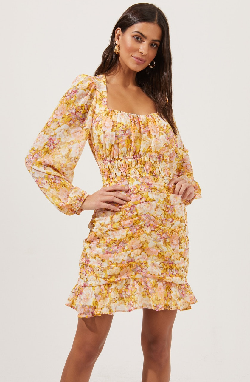 Smocked Waist Ruched Dress