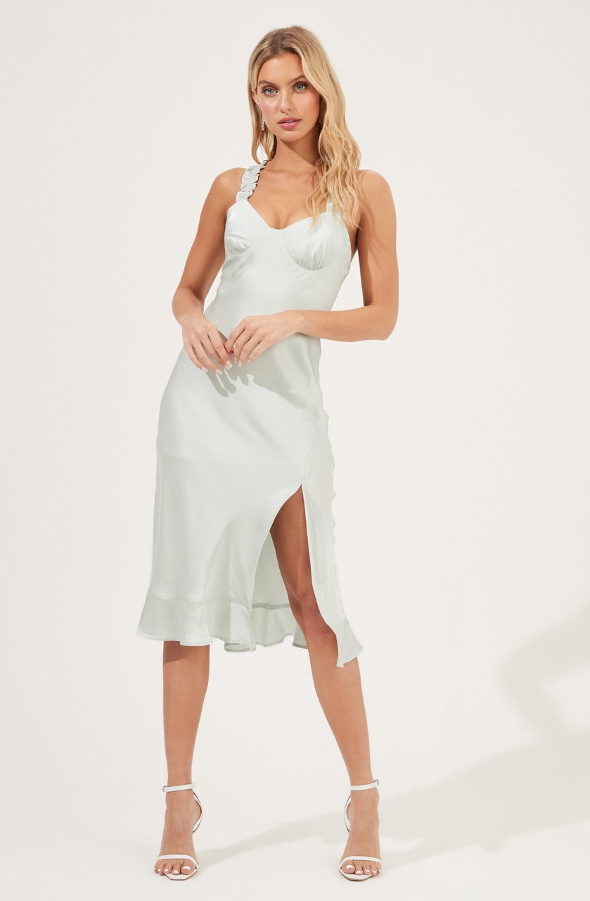 Cross Back Ruffle Strap Dress