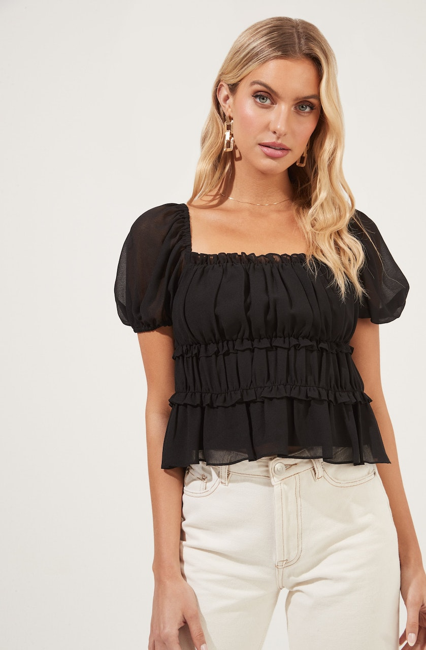 Ruched Ruffle Short Sleeve Top